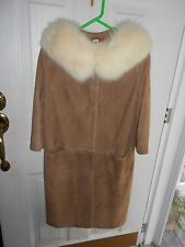 "BEAUTIFUL SUEDE COAT FOX COLLAR, FAWN COLOR MATCHING 13"" KID GLOVES"