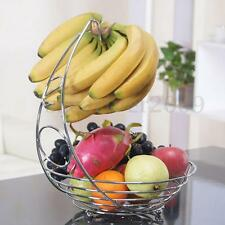Fruit Vegetable Bowl with Banana Hanger Hook Kitchen Storage Basket Rack Stand