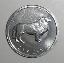 2003 Cook Islands 1 cent, Lassie, Collie, dog animal wildlife coin