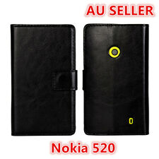 Black Nokia Lumia 520 Slim Wallet Flip stand Cover Case Horse Pattern card slot
