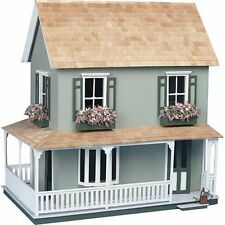 Large Wooden Doll House Vintage Cottage Kit Wood Dollhouse DIY Mansion Girls