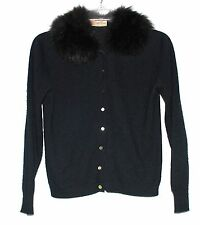 Vintage Mercury Originals Black Turbo Orlon Sweater w/ Black Fox Fur Collar Sz S