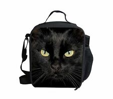 kIDS Animal Black Cat Print Cooler Thermal Lunch Bag Box Food Container School
