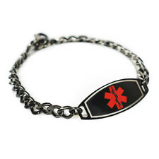 MyIDDr - Engraved Medical Bracelet, Nut Allergy, Steel Black ID & Curb Chain