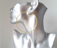 """Gorgeous patterned gold tone thin wire hoop earrings, 3"""" / 8cm Big hoops! *NEW*"""