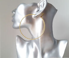 "Gorgeous patterned gold tone thin wire hoop earrings, 3"" / 8cm Big hoops! *NEW*"