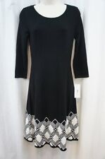 Sangria Dress Sz L Black Ivory Multi 3/4 Sleeve Casual Business Sweater Dress