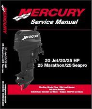 Mercury 20 Jet - 20/25 HP 25 Marathon - Seapro Outboard Service Repair Manual CD