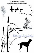 Bird Dog Cattail CLUMBER PARK Set Cling Unmounted Rubber Stamp Set IndigoBlu NEW