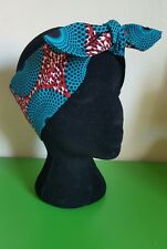 Teal red geometric African Wax Print Headscarf Bandanna Head wrap hair turban