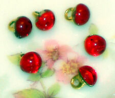 #430 Vintage Glass Buttons Red Ruby Rhinestone Doll Clothing Tiny RareNOS 4mm