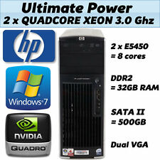 HP Quad Core 3,00 Ghz 32GB RAM a 64 bit di Windows 7 DESKTOP PC TOWER XW6600 500GB