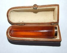 ANTIQUE BALTIC BUTTERSCOTCH AMBER CHEROOT HOLDER CIGAR CIGARETTE IN CASE. 9.8G