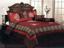 7-Pc Satin Flocking Royal Floral Comforter Set Burgundy Brown Bed in a Bag Queen