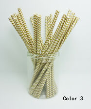 25 pcs Paper Drinking Straws Chevron Striped Drinking Straw For Party color 3