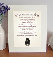 """Cocker Spaniel 10""""x8"""" Free Standing Thank You Poem Fun Novelty Gift FROM THE DOG"""