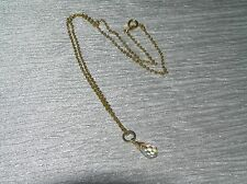 Vintage Dainty Goldtone Chain with Aurora Borealis Faceted Teardrop Pendant Neck