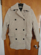 Surface to Air Teddy Cocoon Fluffy Fuzzy Beige Boiled Wool Pea Coat 34 XS