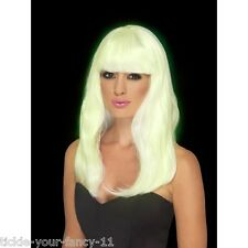 Women's Girls Long Glam Glow In The Dark Wig Fancy Dress Party Costume Accessory
