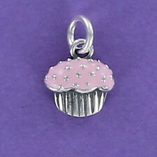 Cupcake Charm Sterling Silver for Bracelet Tiny Pink Enamel Sprinkles Jimmies