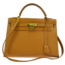 Authentic HERMES KELLY 32 2way Handbag Veau Barenia Gold Vintage GHW S03260