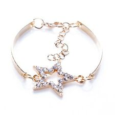 Fashion Women Gold Plated Diamante Inaly Five Star Shape Stretch Charm Bracelet