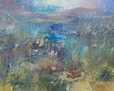 Reinis Zusters 1918-1999 Large Original Oil Painting Semi Absract River Trees