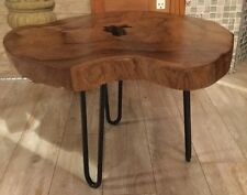 New Handcrafted Solid Wood Slab Small Accent Coffee Side Table Industry Iron Leg