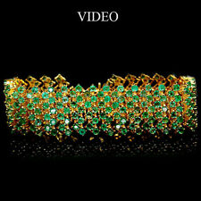 GORGEOUS! REAL! GREEN EMERALD STERLING 925 SILVER BRACELET 14K GOLD PLATED