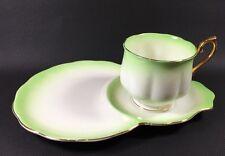 "Royal Albert Bone China ""Rainbow"" Green Snack Saucer & Teacup Gold Rims"