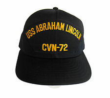 USS ABRAHAM LINCOLN Hat Cap US NAVY Dark Blue LARGE Made in USA FREE SHIPPING