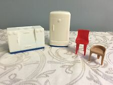 Vintage Plasco Dollhouse Furniture Lot Kitchen Stove Fridge Mid Century Chairs