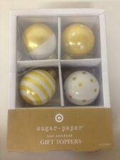 Sugar Paper Ornament Gift Toppers Gold White Balls New In Box Los Angeles