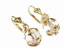 Clear Ball Leverback Dangle Earring 18k Gold Plated French Clasp