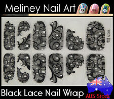 TZ065 Black Lace Nail Art Wrap Full Cover Stickers Flower Floral Transparent