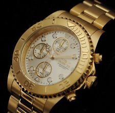 INVICTA PRO DIVER 1774 18k GOLD ION PLATED STAINLESS MEN'S CHRONOGRAPH WATCH NEW