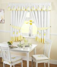 "LEMON GINGHAM KITCHEN EMBROIDERED CURTAINS YELLOW W46"" X L54"" INC TIE BACKS"