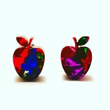 Apple studs - Rainbow glitter Apples -  acrylic studs - apple earrings