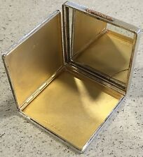 Hallmarked Silver Ladies Compact 1940 Birmingham Gilt Mirror DC Monogram