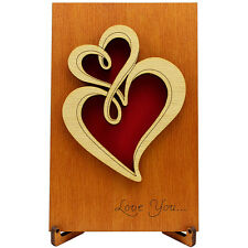 Love romantic Valentine's Day wood Card, Gift for Him Men Husband Her Women Wife