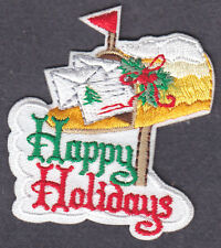 """""""HAPPY HOLIDAYS"""" - IRON ON EMBROIDERED PATCH APPLIQUE/Christmas, Holiday, Words"""