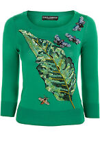New DOLCE GABBANA Embellished Embroidered Green Banana Leaf Bee Dress Sweater 40