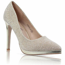 WOMENS LADIES POINTED STILETTO HIGH HEEL PLATFORM COURT SHOES SIZE UK 3-8