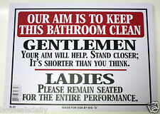 "OUR AIM IS TO KEEP BATHROOM CLEAN MEN WOMEN TOILET NOVELTY SIGN 9""X12"" FUNNY"