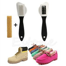 3-Sides Cleaning Brush + Rubber Eraser Set for Suede Nubuck Shoes Boot Cleaner