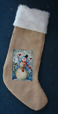 """21"""" friends forever snowman burlap Christmas stocking hand crafted in USA"""