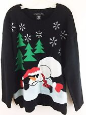 New Ugly Christmas Sweater Womens XL Acrylic Winter Snowman Embroidered Pullover