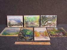7 ANTIQUE MUDDY IMPRESSIONIST LANDSCAPE SKETCH PAINTINGS by ARNOLD LAHEE