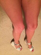 Well Worn White Peep Toes Platforms Size 9