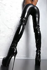 MADE IN ITALY SEXY HIGH HEEL STRETCH BOOTS Z31 LANG OVERKNEE STIEFEL LEDER 41